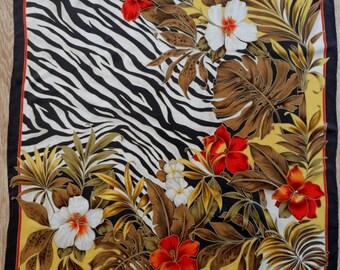 Silk Scarf, Floral Motives Silk Scarf,  Vintage Silk Scarf, Square Scarf