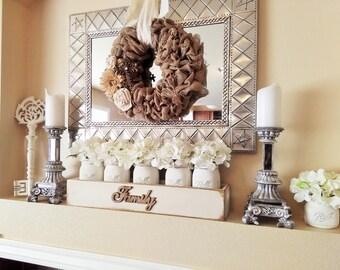 Large Wood Box With Mason Jars, Mantle Decor, Table Decor, Family Room Decor, Rustic Home Decor, Home Decor, Mason Jar Centerpiece, Family