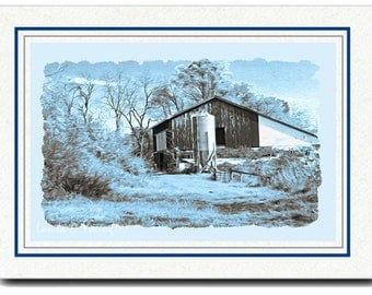 All Occasion Cards, Handmade Card, OOAK Photo Card, Barn and Silo, Photo Greeting Card, Fine Art Print, 5x7 Blank Card, Photo Note Cards