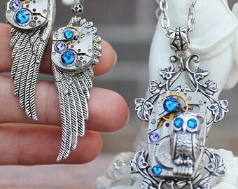 Steampunk jewelry set, steampunk owl, steampunk owl pendant, steampunk owl earrings