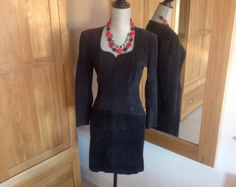 Vintage Suede Leather Black Mini Dress -1970s