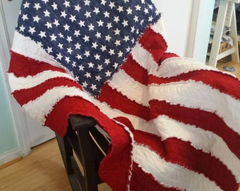 Flag Rag Quilt Throw - Made to order