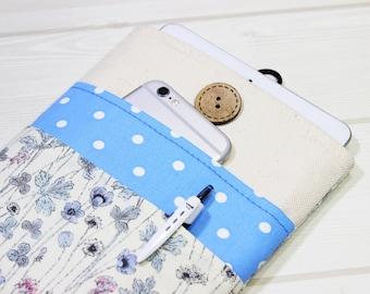 iPad Case, iPad Pro Sleeve, iPad 2, iPad 3, iPad 4, Tablet Sleeve, Cotton Sleeve iPad, iPad Air Sleeve, Polka Dots, Floral ebook case