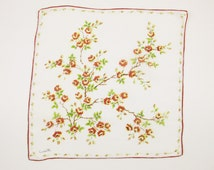 A 'Central' Design Handkerchief by 'Colette' -  Bouquet With Brown-edged Gold Roses  - Watercolor - Gift - Collect