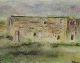 Original Impressionist Watercolour Landscape Painting of ruins