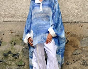 Cotton Silk Linen Hooded tunic/maxi woman tunic/Handmade blue tunic/Plus size top/Maxi top/Hooded long tunic/Amazing ocean silk tunic/T1502