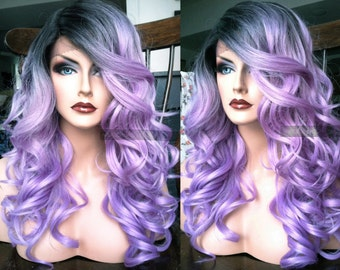 Pastel Lace Front Wig // Purple Wavy LACE Wig w/ Skin Part & Heat OK Ombre Lavender Dark Roots Cosplay // #AT31