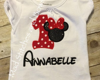 Custom embroidered minnie moues birthday shirt