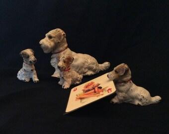 Antique Hubley Cast Iron / Set of 4 Miniature Terrior Figurines/ Hubley Cardholders/Hubley Paperweights /Hubley Figurines/Hubley Terriors