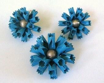 Bergere Blue Enamel Carnation Brooch and Clip Earrings