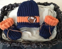 Denver Broncos knit baby boy hat with hand stitched football,Chicago Bears baby hat &booties,Denver Bronco baby,football baby hat and bootie