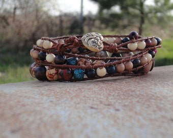 Leather wrap bracelet. Heart Boho bracelet with beads.  Brown, black, with hints of blue, green, pink. Bohemian. Hippie. Made to Order.