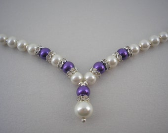 Catherine ~ Ivory and Coloured Pearl Necklace with Crystal Diamante spacers and Heart Shaped Toggle Clasp (2dr)