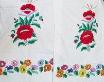 FANTASTIC XXL Rushnik Ukraine Embroidered Towel Eastern Ukraine of 1950s Hand Embroidered Holiday Towel with Poppies Real High Art