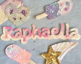 Kawaii Personalised sequin letter initial patch - Any letter / symbol made to order - 5.50 pounds per letter!