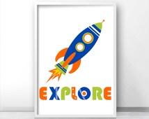 Kids Wall Art Print, Rocket Ship Kids Print,  Outer Space Kids Art, Space Nursery, Boys Room Art, Boys Wall Art,  Explore Print, Space Decor
