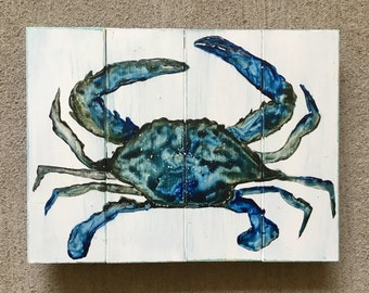 Blue Crab Wood Sign