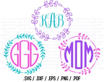 Circle Monogram Frame Design Files, Use With Silhouette Software, DXF Files, SVG Font, EPS File, Svg Font, Silhouette - CA316