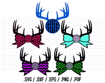 Deer Antler Monogram, Southern Monogram, Chevron Bow, SVG Files, DXF, Vector Art, Cricut Design Space, Silhouette Digital Cut Files - CA157