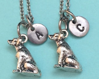 Best friend necklace, lab necklace, animal necklace, bff necklace, friendship jewelry, personalize necklace, initial necklace, initial charm
