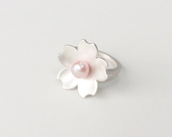 Gorgeous Sterling Silver Pink Freshwater Pearl Cherry Blossom Statement Ring