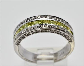 Yellow Diamonds in Sterling Silver Ring 3.6 grams