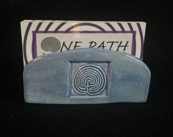 Blue classical labyrinth ceramic business card/sponge holder with sea turtle