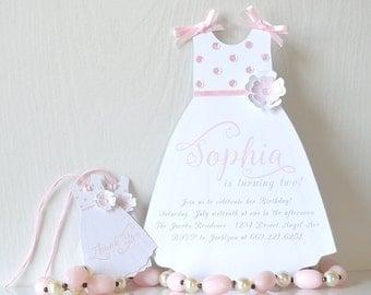 Sparkling Sun Dress Invitations: birthday party, glitz and glam, flower girl, first birthday, first communion, baptism, baby shower- LRD034P