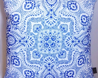 Cushion Pillow with mosaic bandana print in royal blue