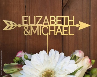 Wedding Cake Topper, Personalized Wedding Cake Topper, Custom Cake Decor, Arrow Cake topper, Wedding Cake Topper with Arrrow