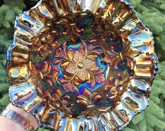 Antique Carnival Glass~~Scarce Millersburg Fleur de Lis~~Large 3-in-1 Bowl