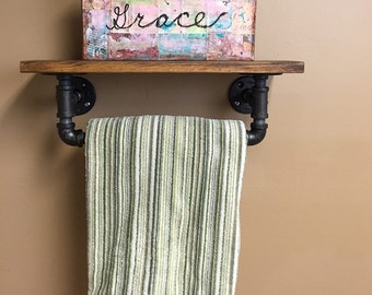 Bathroom Shelf And Towel Bar, Kitchen Towel Bar And Shelf, Industrial Pipe  Shelf,
