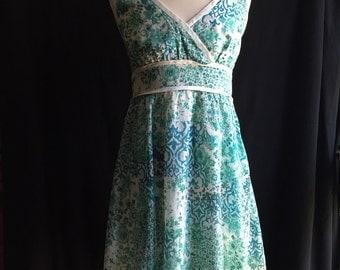halterneck sun dress samll/green/ femmenine/ summer dress