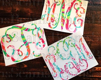 Yeti tumbler lilly pulitzer inspired monogram decal, yeti rambler monogram, yeti decal, yeti cup monogram, lilly monogram