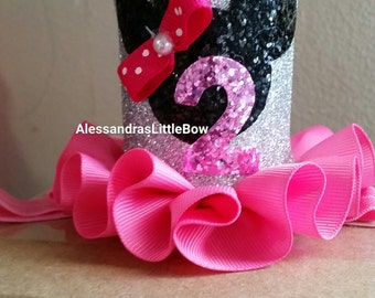 silver and pink minnie mouse crown pink and silver minnie birthday crown Minnie mouse birthday hat pink minnie first birthday outfit