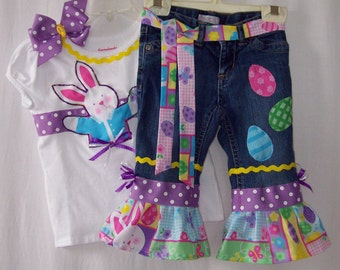 Custom boutique little girls Easter Bunny Egg jeans & shirt set all sizes available