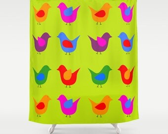 Scandinavian birds green shower curtain-Mid Century curtain-Pop art curtain-Retro Modern Curtain-Designer Bathroom decor-Colourful bath