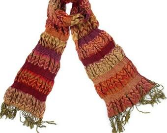 Vintage weave scarf orange reds autumn accessorie