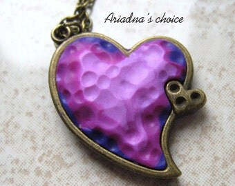 Polymer clay tiny jewerly-Tiny heart-Original gift-Bronz support-Original ideea-Accesories for her