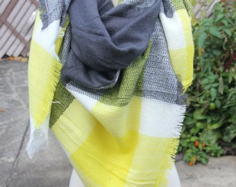 New Lady Blanket Oversized Tartan Scarf Wrap Shawl Plaid Multi Color – Grey Yellow