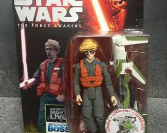 "custom Star Wars SNL Matt, radar technician, Kylo Ren 3.75"" carded figure The Forc  Awakens Undercover Boss"