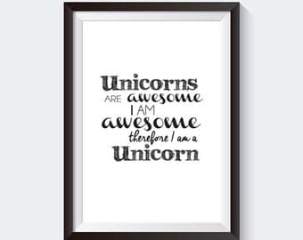 Unicorn 'Awesome' Quote - INSTANT DOWNLOAD