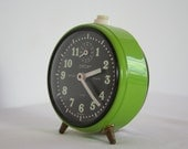 Small, German alarm clock, vintage green. Works, very quiet.