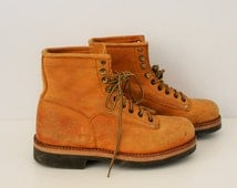 Yellow Suede Lace-up Boots Brand ART SISTEM Brown Suede Ankle  Leather Hiking Boots Desert Trail Combat Chelsea Size US 7.5/8 ,Eu 40/41