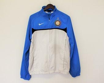 White Blue NIKE Track Jacket Zip Up Sports Windbreaker jacket Size Medium Nike 90s