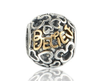 silver charm sterling silver charms beads fits authentic Pandora and European charm bracelets believe