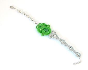 Green bracelet, lemon green bracelet, soutache bracelet, bohemian jewelry, crystal bracelet, beaded bracelet, embroidered bracelet,