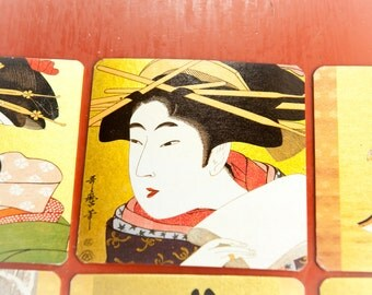"Vintage ""UKIYOE COASTERS""  Geisha Coasters Gilded with Gold Leaf and Exquisite Illustrations 60's"