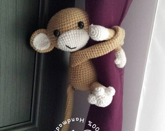 Monkey curtain tie amigurumi monkey LEFT side beige monkey