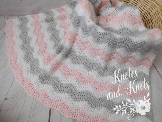 Baby Crochet Blanket Pink White And Gray Afghan By